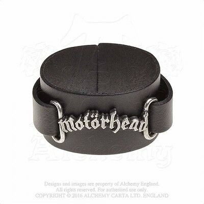 ALCHEMY ROCKS England Official Merch Metal Pewter LEATHER WRIST-STRAP Motorhead