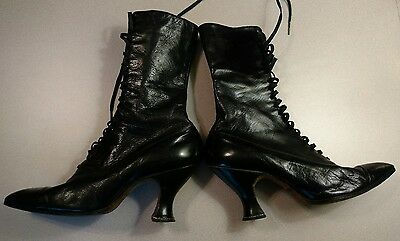 Antique Victorian, 1800's-Womens Black Leather High Lace-Up boots, Steampunk