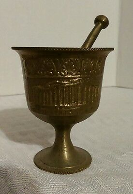 "Vintage Mortar & Pestle Solid Brass Miniature 2.5"" Apothecary Medicine Pharmacy"