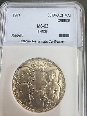 Greece 1963 Silver 30 Dr 5 Kings Graded Slabed Coin