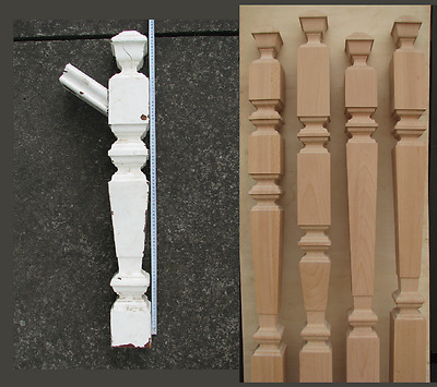 Replica Reproduction of old Wood Stair Square Newel post Oak Birch Ash Spindle