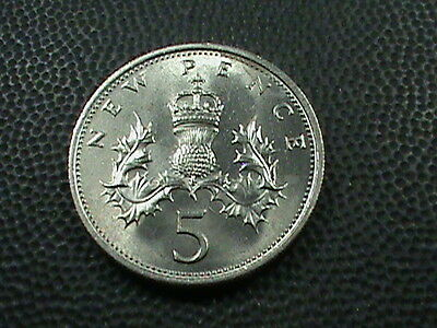 GREAT  BRITAIN    5  Pence   1969    BRILLIANT  UNCIRCULATED