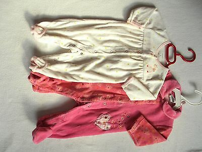 Lot of 2 Baby Girl 3 Months One Piece Sleepers pink white Carter's