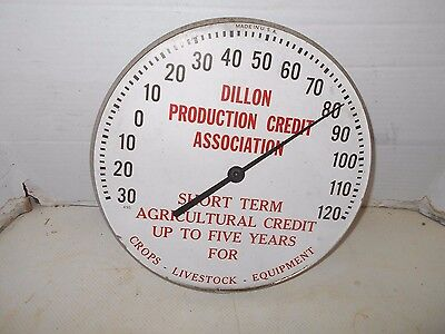 "VINTAGE COLLECTIBLE DILLON PRODUCTION CREDIT 12"" round ADVERTISING Thermometer"