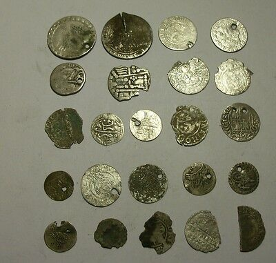Large silver medieval coin lot. lower grade. 22 grams. (X3)