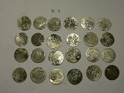 Silver medieval coin lot. damaged. (X2)