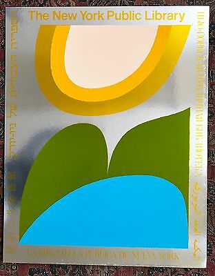 RARE Original Pop Art Abstract 1974 New York Public Library Foil Print Poster