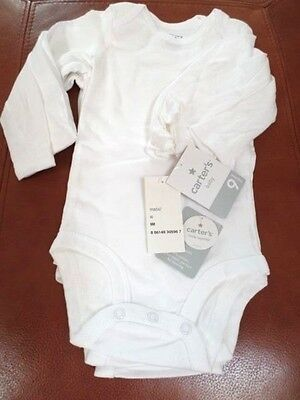 Carter's Baby Long sleeve White Cotton Bodysuits set of 4 Size 9  Months  Unisex