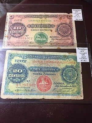Lot Of 2 1914 Mozambique Ultramarino Banknote 10 And 20 Centavos # 50L