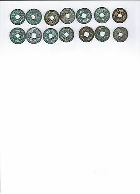 14 different Ancient Chinese Coins(Song Dyn. 1000 yrs old, 7 pairs)