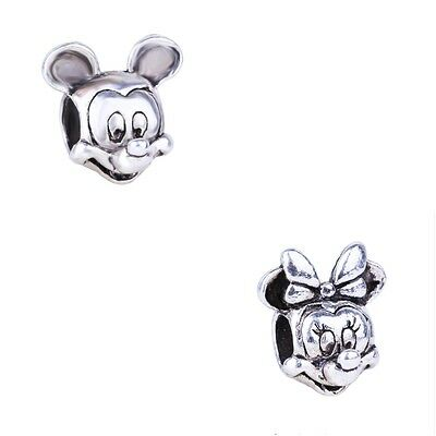 Charms Mickey Minnie Disney Argent 925 Bracelet Europeen Serpent Compatible