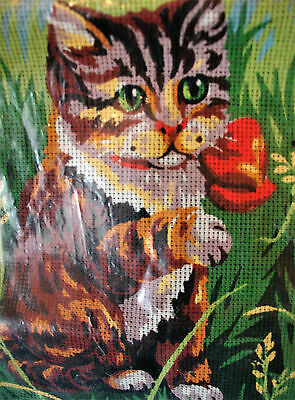 Royal Paris CAT KIT Tapestry Needlepoint Canvas Wool 13117 New Old Stock Tabby