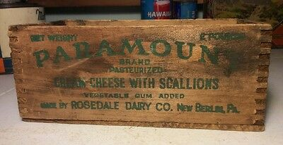 Vintage Wooden Paramount Brand Cream Cheese Scallions Box Advertising Grocery