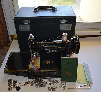 Vintage 1949 Singer Featherweight 221-1 Sewing Machine with Case and Accessories