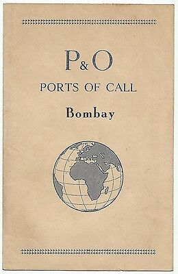 India 1950s P&O Port Of Call map of Bombay for disembarking visitors