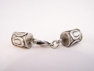 ~<~Pretty Antiqued Silver Horse Shoe Design End Caps With Lobster Claw Clasp~>~