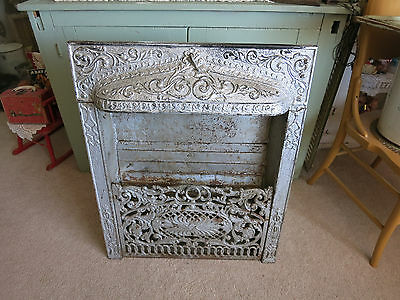 Vintage Cast Iron Coal/Wood Door Furnace COLONIAL INDUSTRIAL DECOR - BEAUTIFUL!