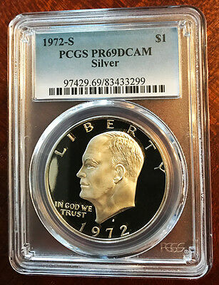 1972 S $1 Silver Ike Eisenhower Dollar Proof PCGS PR69DCAM ~ Free Shipping