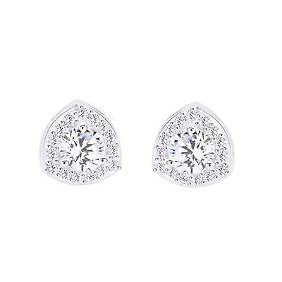 925 Sterling Silver 0.66 ct D VVS1 Round Cut Triangular Halo Stud Earrings $198