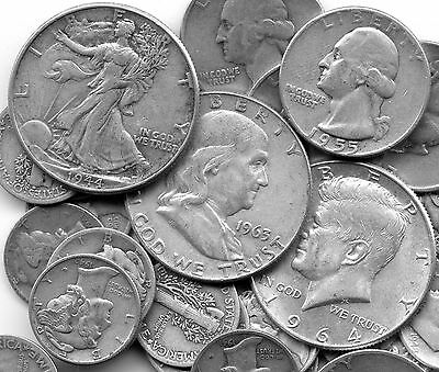 $10- 90% Silver Coins Lot Mostly Half Dollars Liberty Franklin & Kennedy No Junk