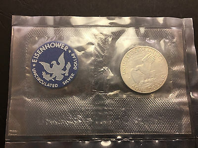 1971 US Uncirculated Silver Dollar with Eisenhower Token in envelope of issue