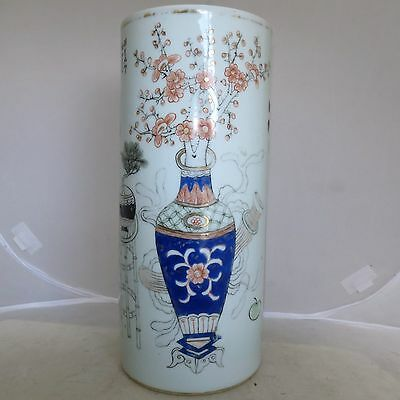 """11"""" Antique Chinese Famille Rose Hat Stand Vase w/ Flowers, Vases & Calligraphy"""