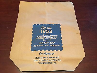 """Nos """"see The 1953 Chevrolet"""" Chevy Bowtie Dealership Paper Grocery Bag Sign Look"""