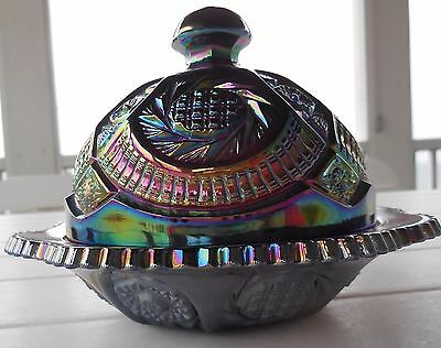 LE Smith Amethyst Carnival Glass Rnd Covered Butter Dish Hobstar Pin Wheel MINT