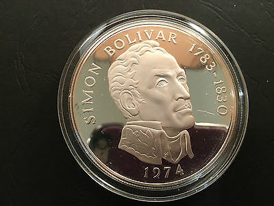 1974 Proof 0.925 silver 3.85oz 20 Balboa Coin Republic of Panama Simon Bolivar