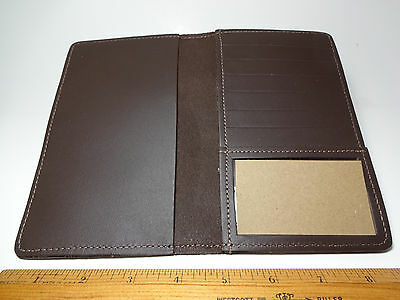 North Star Brown Top Stub 6+ C.Card Leather Checkbook Cover-2nd-Made In USA #133