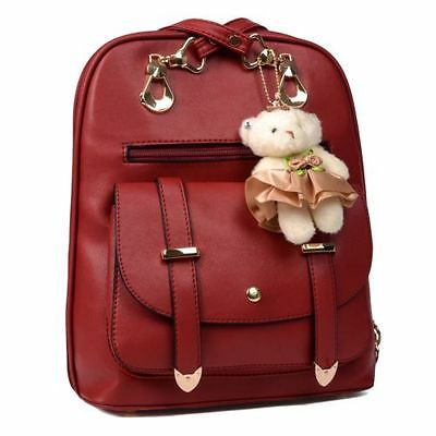 Lady Leather Backpack School Rucksack Shoulder Bag Satchel Travel Bag Wine Red