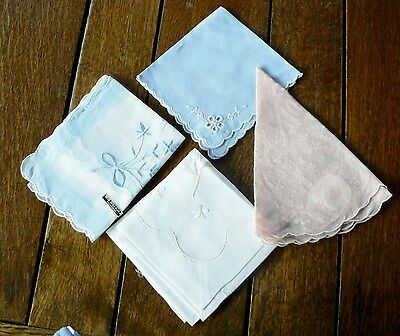 Lot of 4 Handkerchiefs Hankie Pink Blue White Embroidered