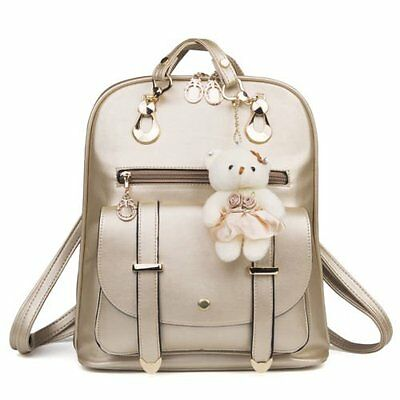Lady Leather Backpack School Rucksack Shoulder Bag Satchel Travel Bag Golden