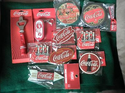 Coca-Cola Bottle Opener, Coke Soda Wooden Magnets, Coasters & Tin Lot: orig.pack