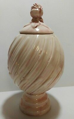 White & pink Jar With Lid Pink Rose Handle