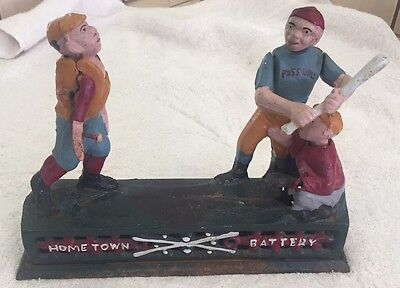 Old Vintage Antique Home Town Battery Cast Iron Baseball Mechanical Coin Bank