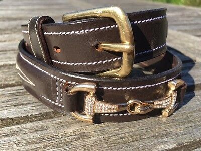 Horse Riding Belt, Equestrian Belt, Brown Leather Crystal Belt Girls and Ladies