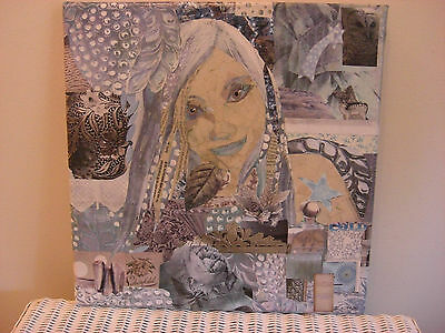 Original Collage Art On Canvas  By J.lynn,--'ice Girl'