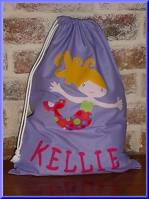 Child's / Girls Personalised Name Library Bag / Toy Bag - Mermaid -