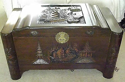 Large Antique Vintage Chinese Hand Carved Camphor Wood Chest Trunk Coffer