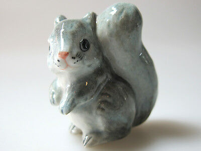 Hand Painted Miniature Collectible Ceramic Gray Squirrel Figurine