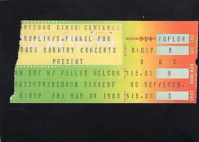 1983 Willie Nelson concert ticket stub Hartford Civic Center Country Music