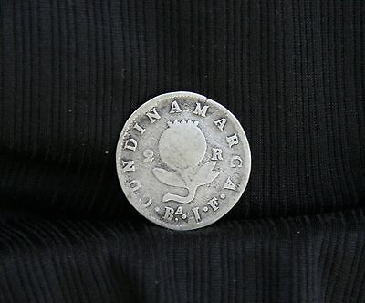 1821 Colombia 2 Reales Silver World Coin KMC5 Cundinamarca RARE South America