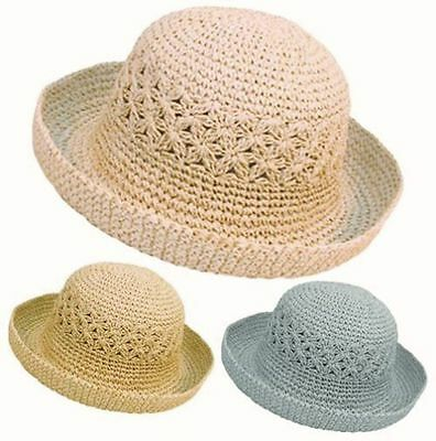 New Ladies Womens Girls Crushable Packable Summer Straw Style Sun Hat