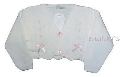 Girls White/Pink Spanish Style Bolero/Cardigan With Bows 6-12 Months
