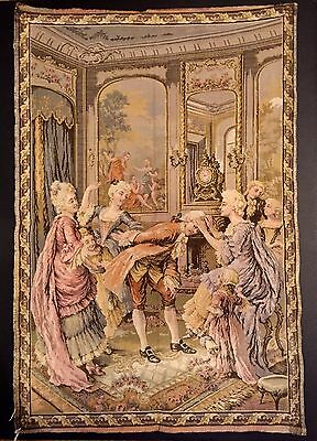 Vtg 38x25 French Tapestry on wooden rod, Artists & Nobility MADE IN FRANCE