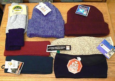 Lot of 7 Vintage NWT NOS Men's LG Winter Hats Mittens Headbands Socks Cabela's
