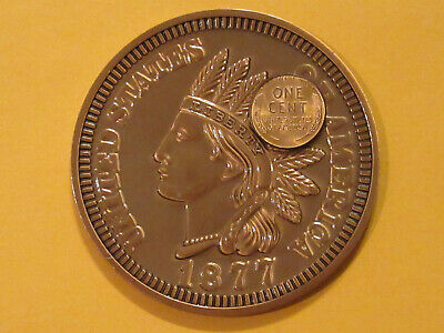 U.S. Coin Giant Indian Head Cent Coin Coaster Paperweight 3 in Die Struck Magic