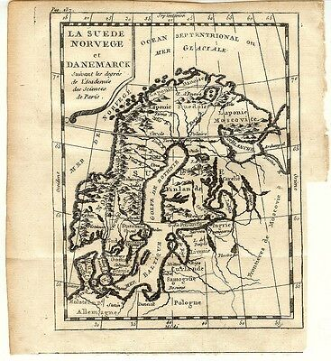 Antique Engraved 1761 Map of Sweden, Norway and Denmark by Claude Buffier