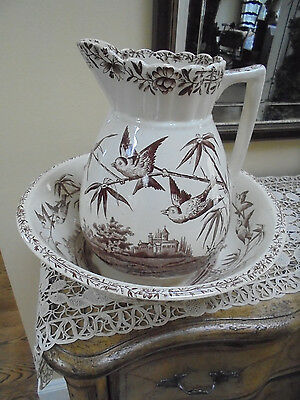 Antique Brown Transferware Aesthetic Design Pitcher and Bowl ~With Barn Swallow